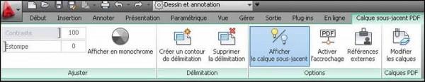 Menu contextuel Calque Sous-Jacent PDF dans l'interface Ruban