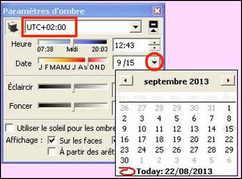 La boîte de dialogue Paramètres d'Ombres permet de modifier le fuseau horaire et de définir une date.